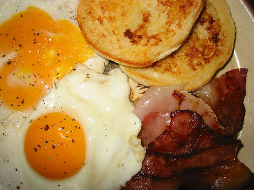 Bacon, eggs, toasted English muffin