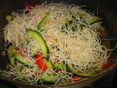 Rice noodle salad, close-up