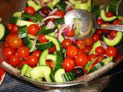 Almost-Greek salad, close-up