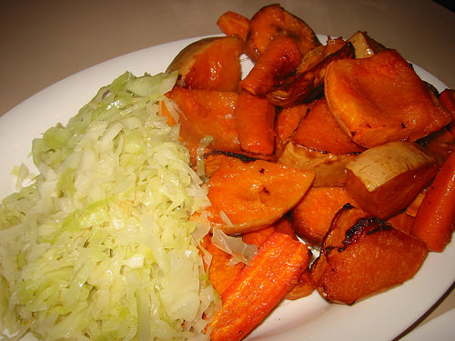Roast sweet potato, carrot and pumpkin, and cabbage