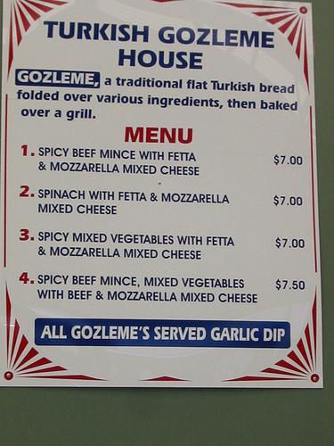 Turkish Gozleme House Menu