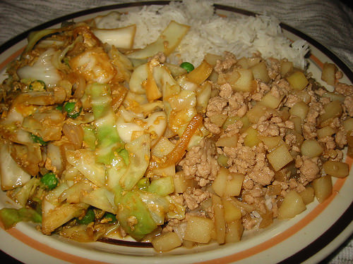 Cabbage and egg, minchee and rice