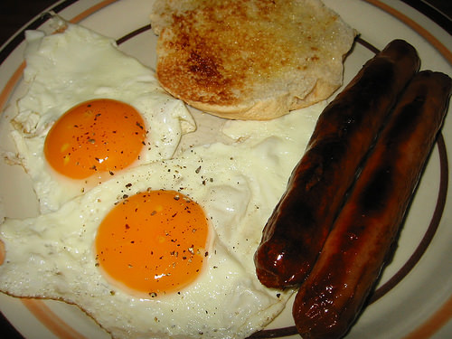 Sausages, eggs and toast