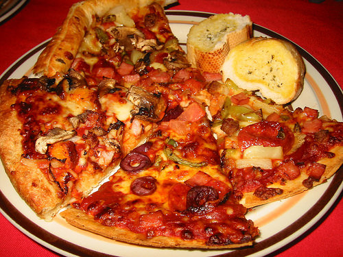 A plate of pizza