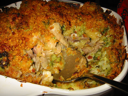 Chicken and broccoli casserole, dug up