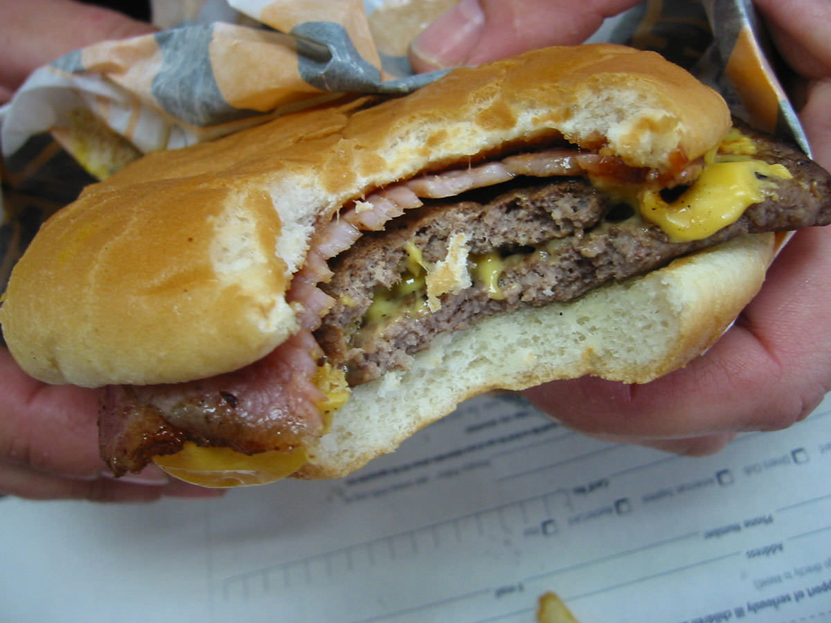 Double Beef and Bacon Cheeseburger after the first bite