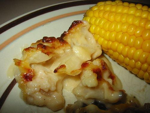 Cauliflower cheese and corn