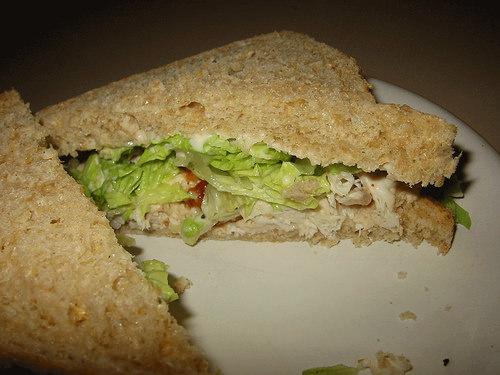 Chicken sandwich innards
