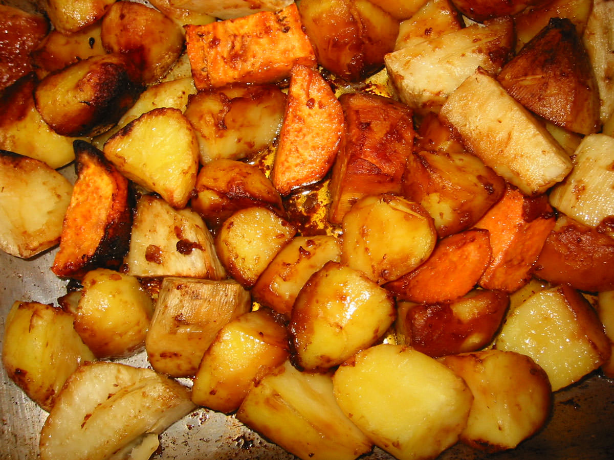 Roasted trio of potatoes, in oven tray