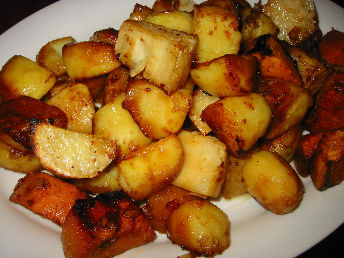 Roasted trio of potatoes, on serving dish