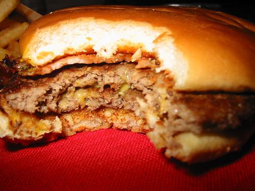 McDonalds double cheeseburger with bacon