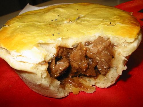 Chunky steak pie innards