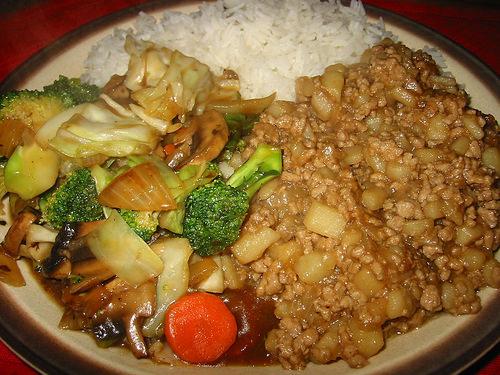 Rice, minchee and stir-fried vegies