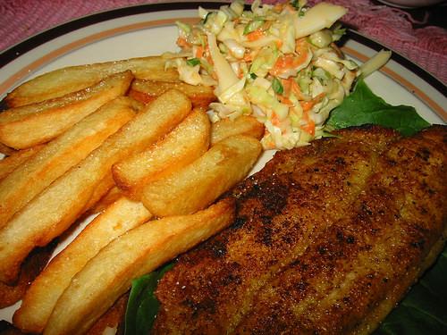 Fish, chips, coleslaw