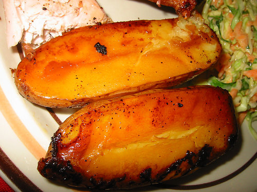 Potatoes roasted in chicken fat