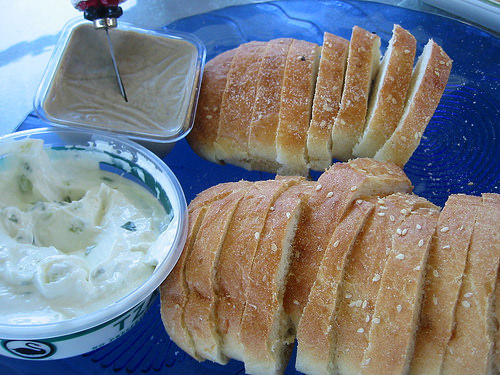 Pate, tzatziki dip and turkish bread