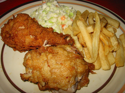 KFC, chips and coleslaw