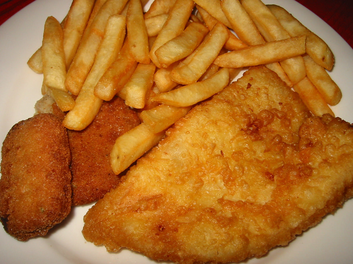 Fish and chips, sea shanty and fish cake