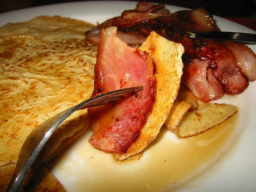What a mouthful of pancake, maple syrup and bacon looks like before I pop it in my mouth