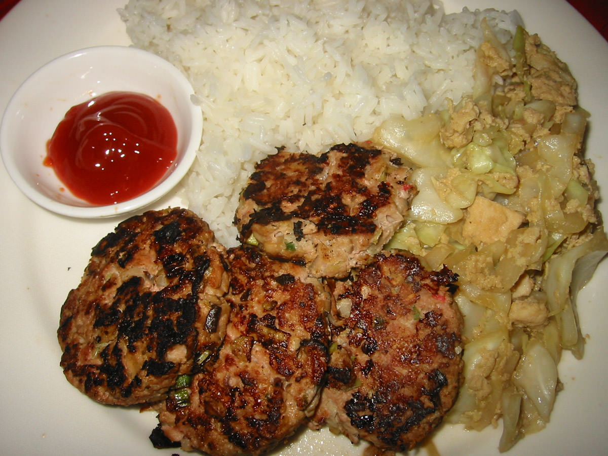 Pork patties, fried cabbage and egg with rice