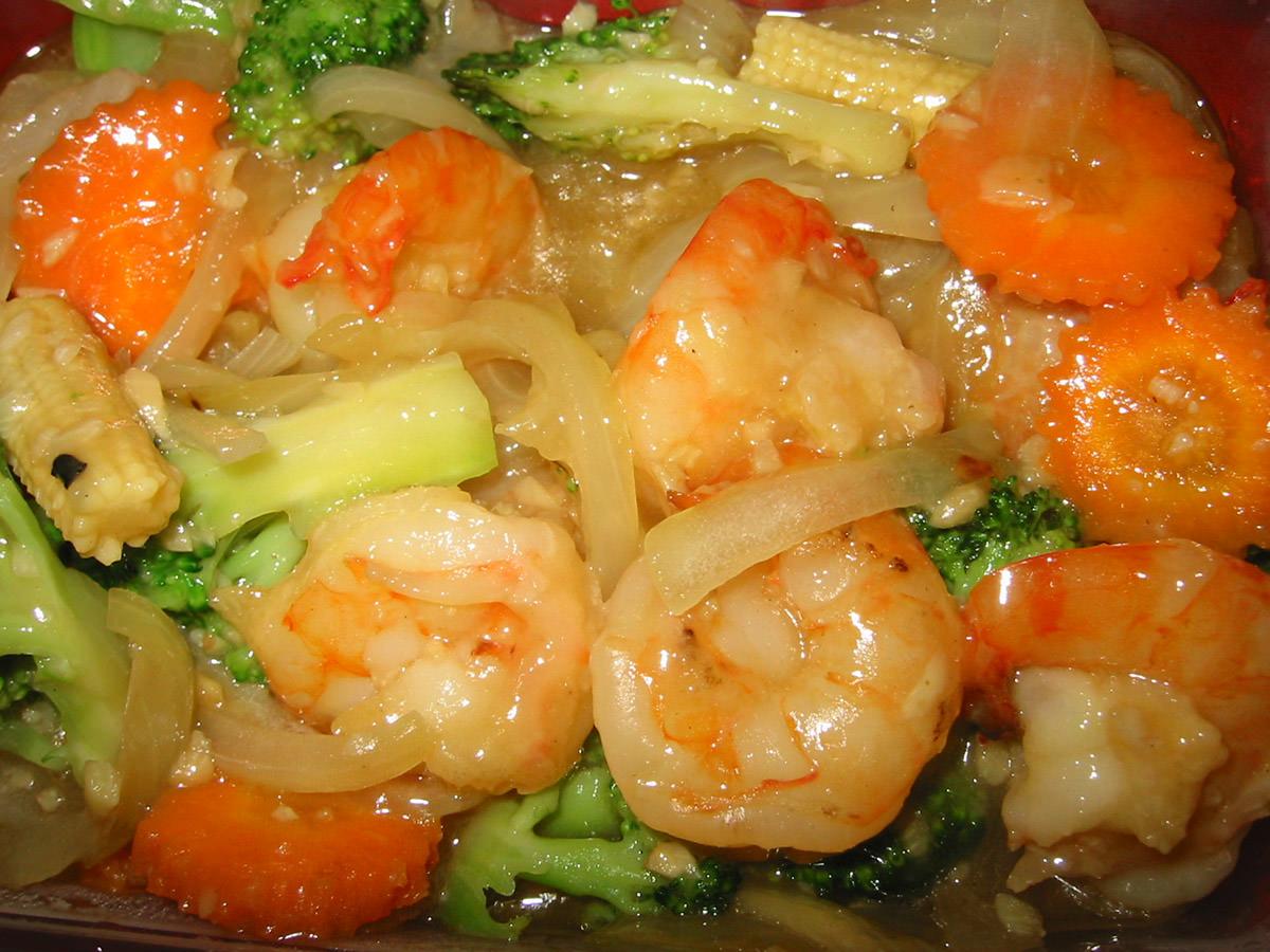 King prawns with garlic sauce