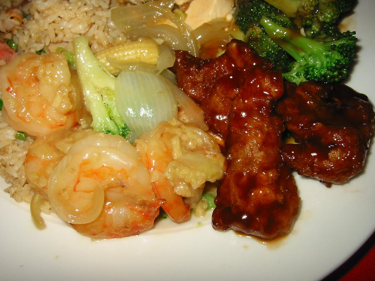 Close-up of prawns and pork chops