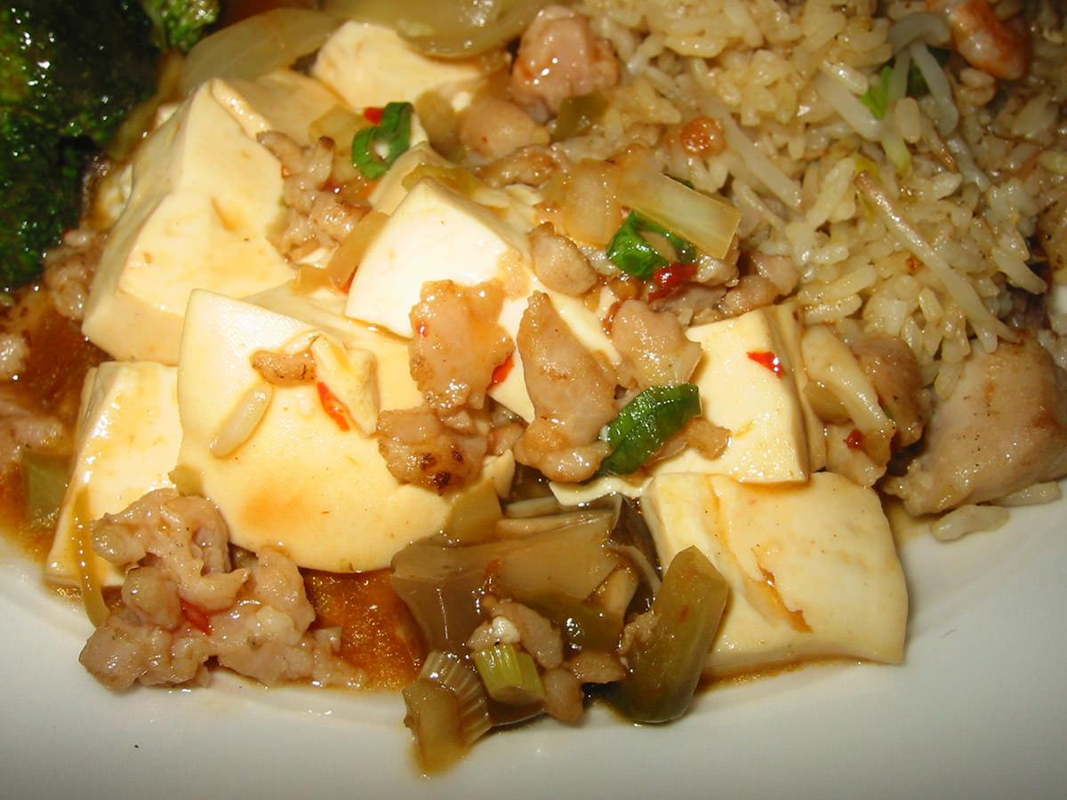 Close-up of ma po tofu