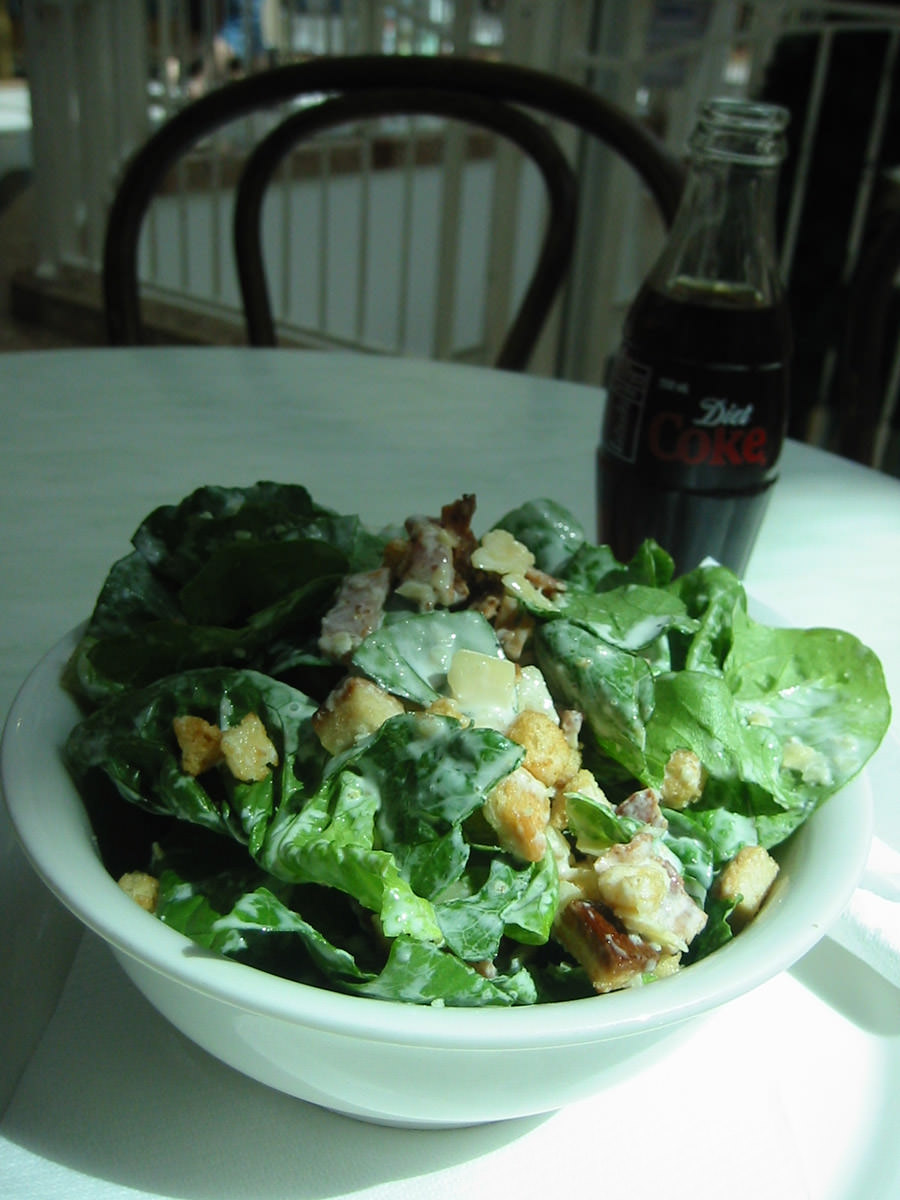 Caesar salad and Diet Coke