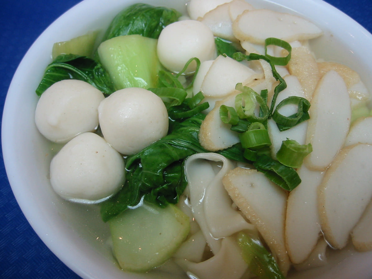 Fish ball kway teow soup