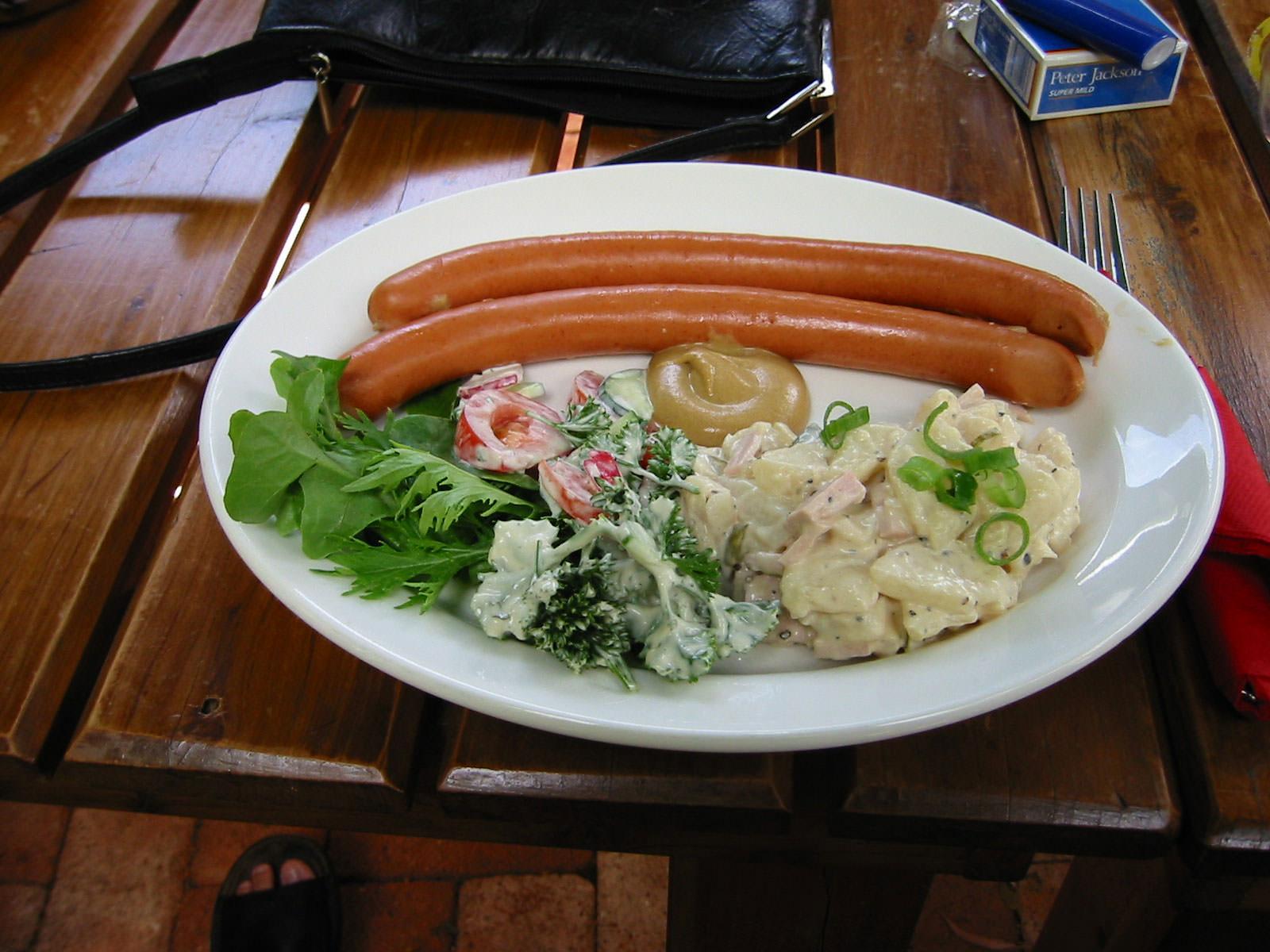 Frankfurters and potato salad