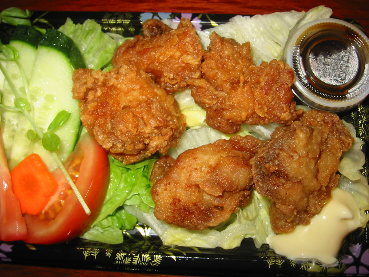 Chicken karaage and salad