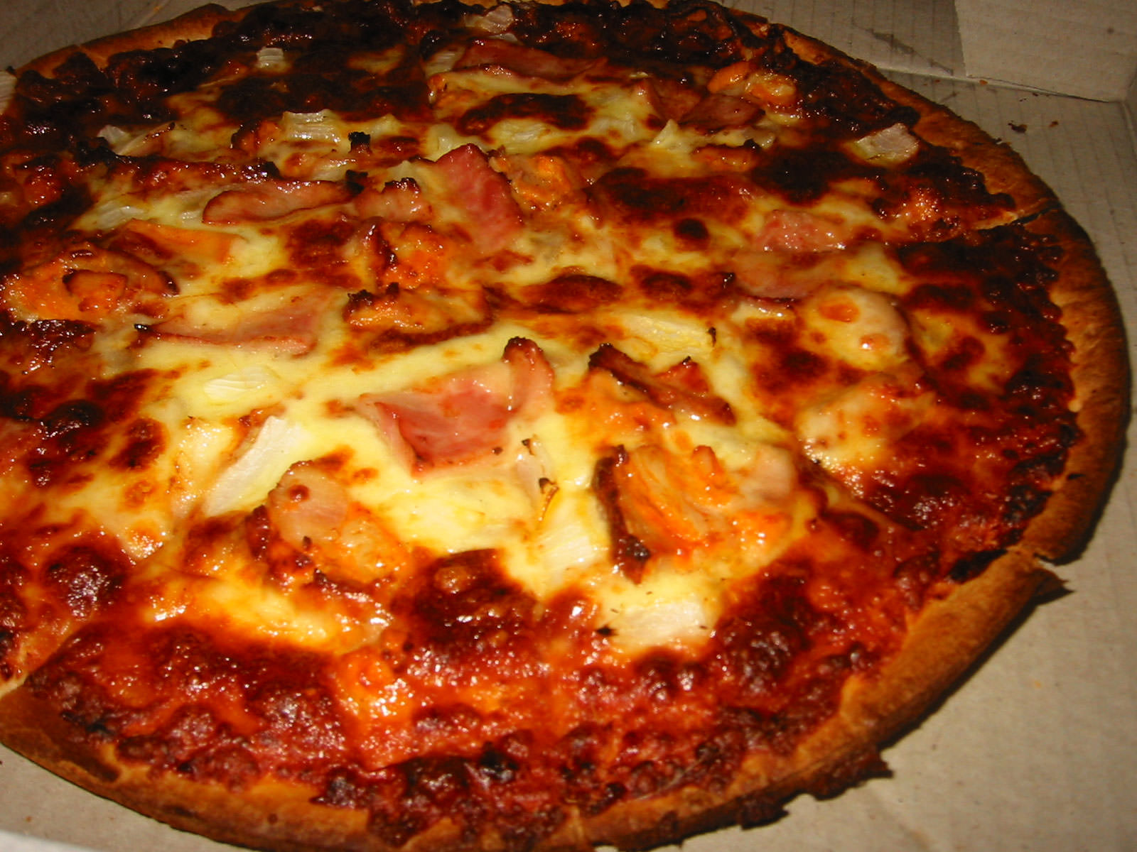 Dominos BBQ Chicken and Bacon pizza