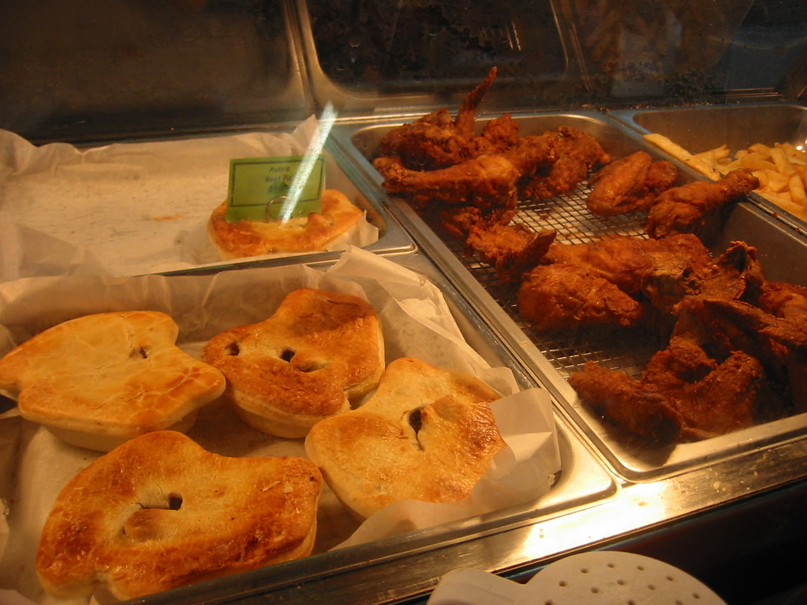 Aussie meat pies and Country Fried Chicken