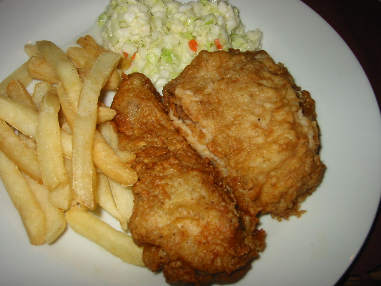 KFC, coleslaw and chips