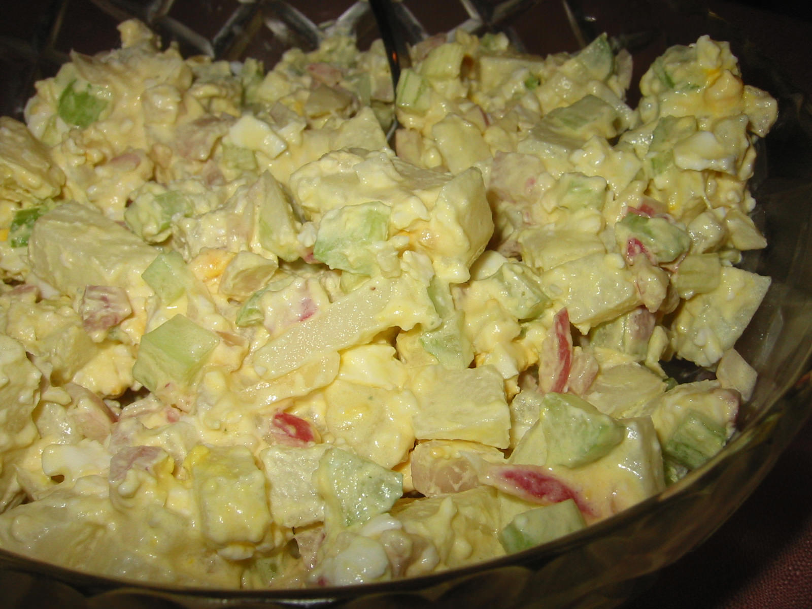 Potato salad made with french onion soup mix