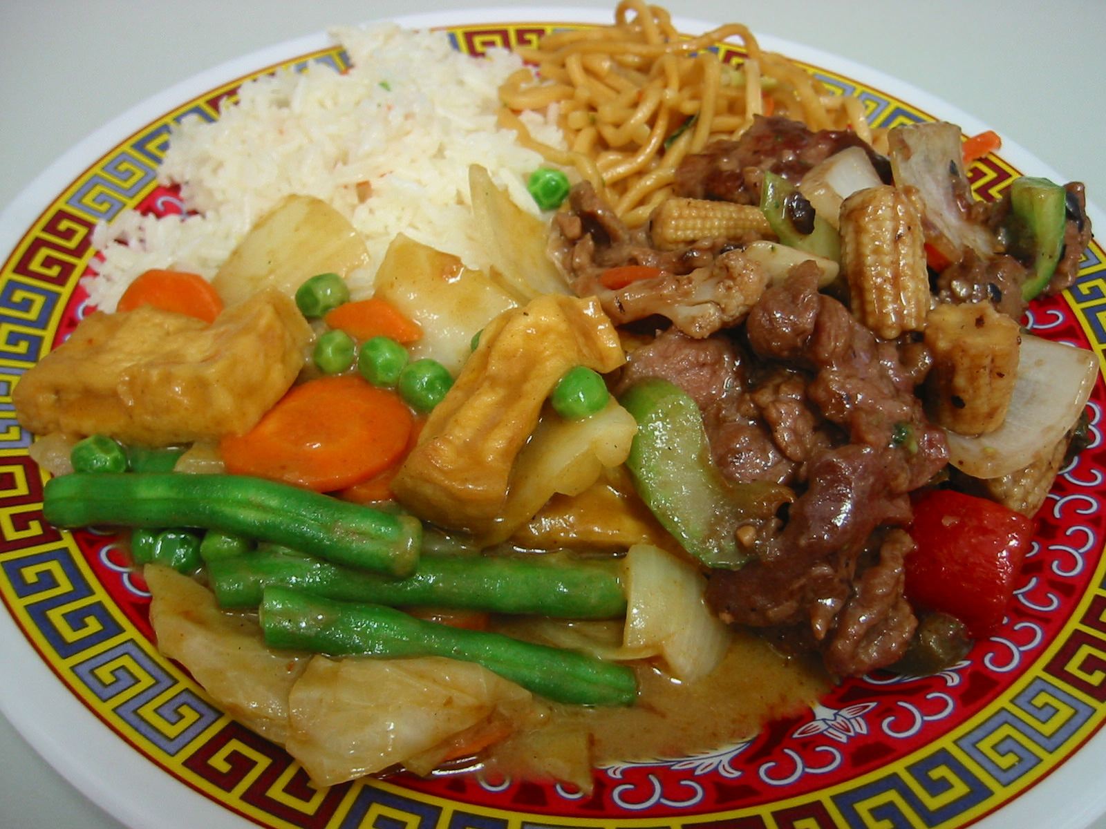 Curry vegies, black bean beef, noodles and rice