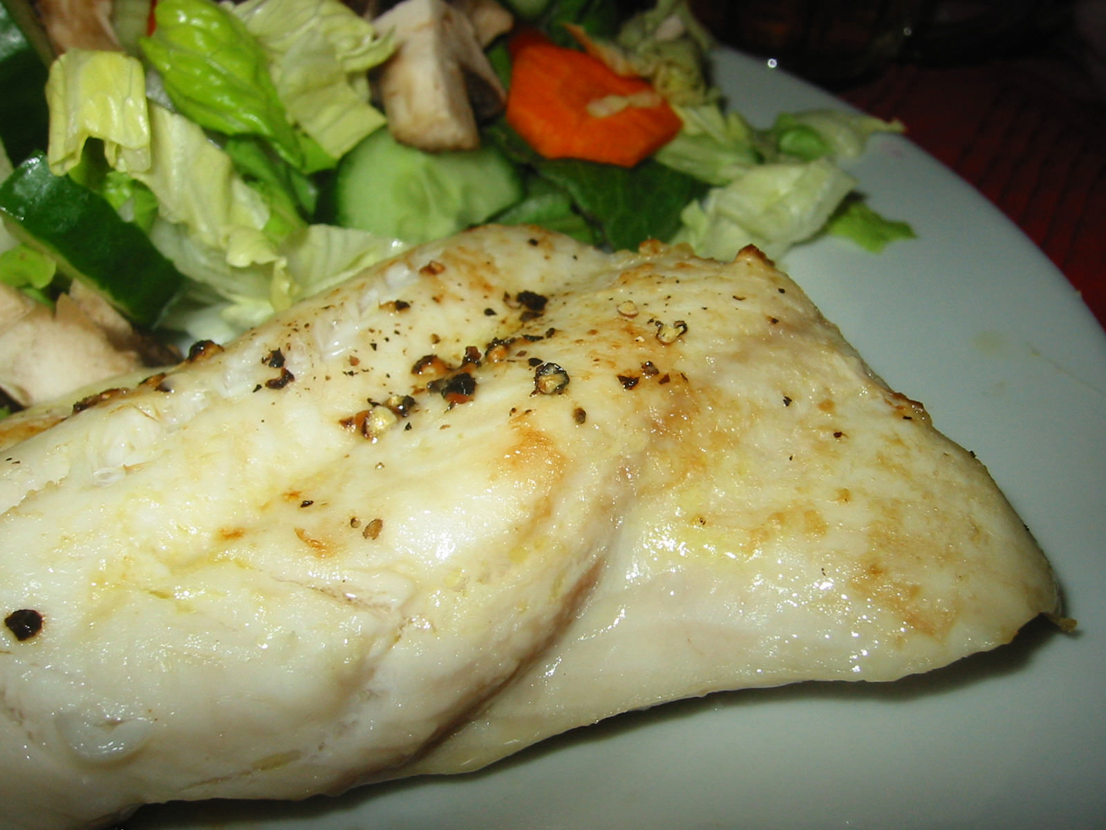 Grilled shark, close-up