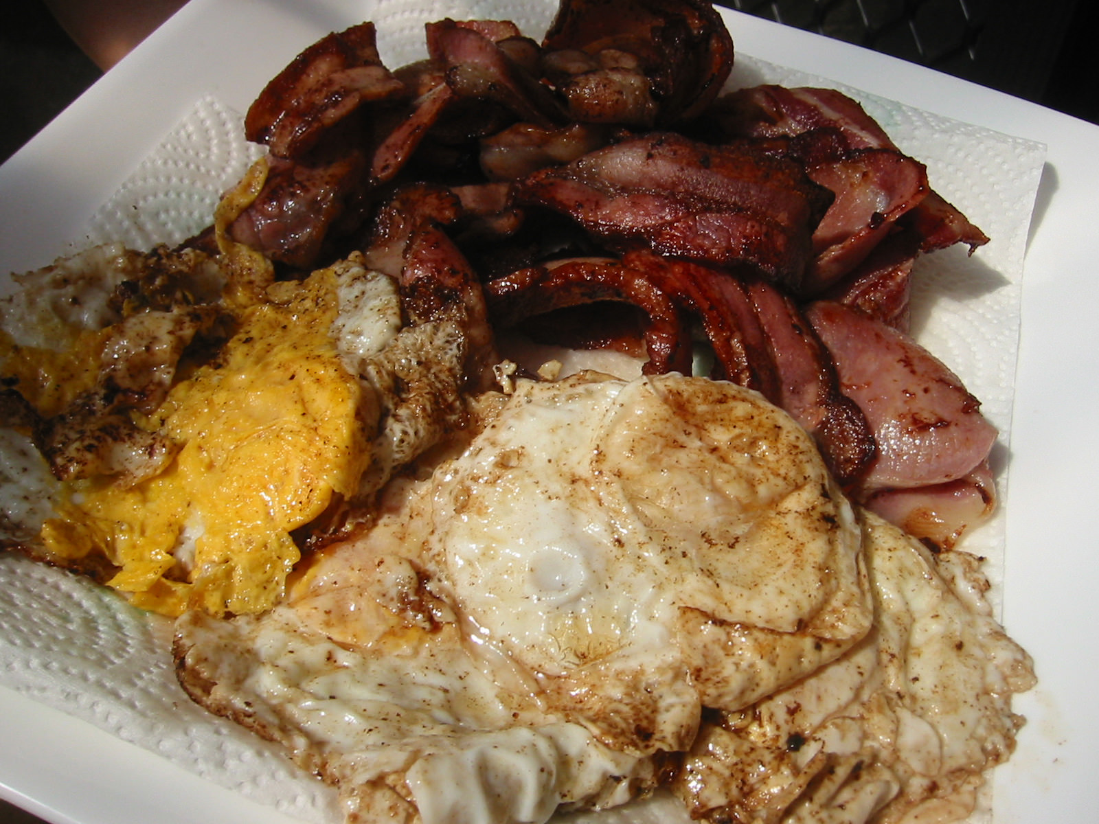 Platter of bacon and eggs