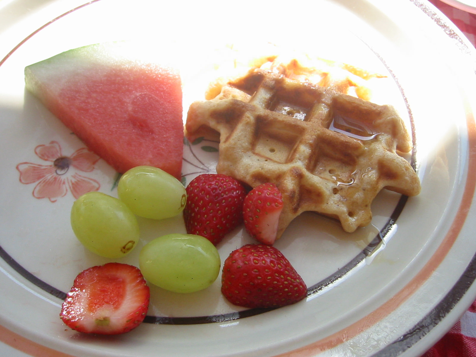 Small waffle with fruit and sunshine