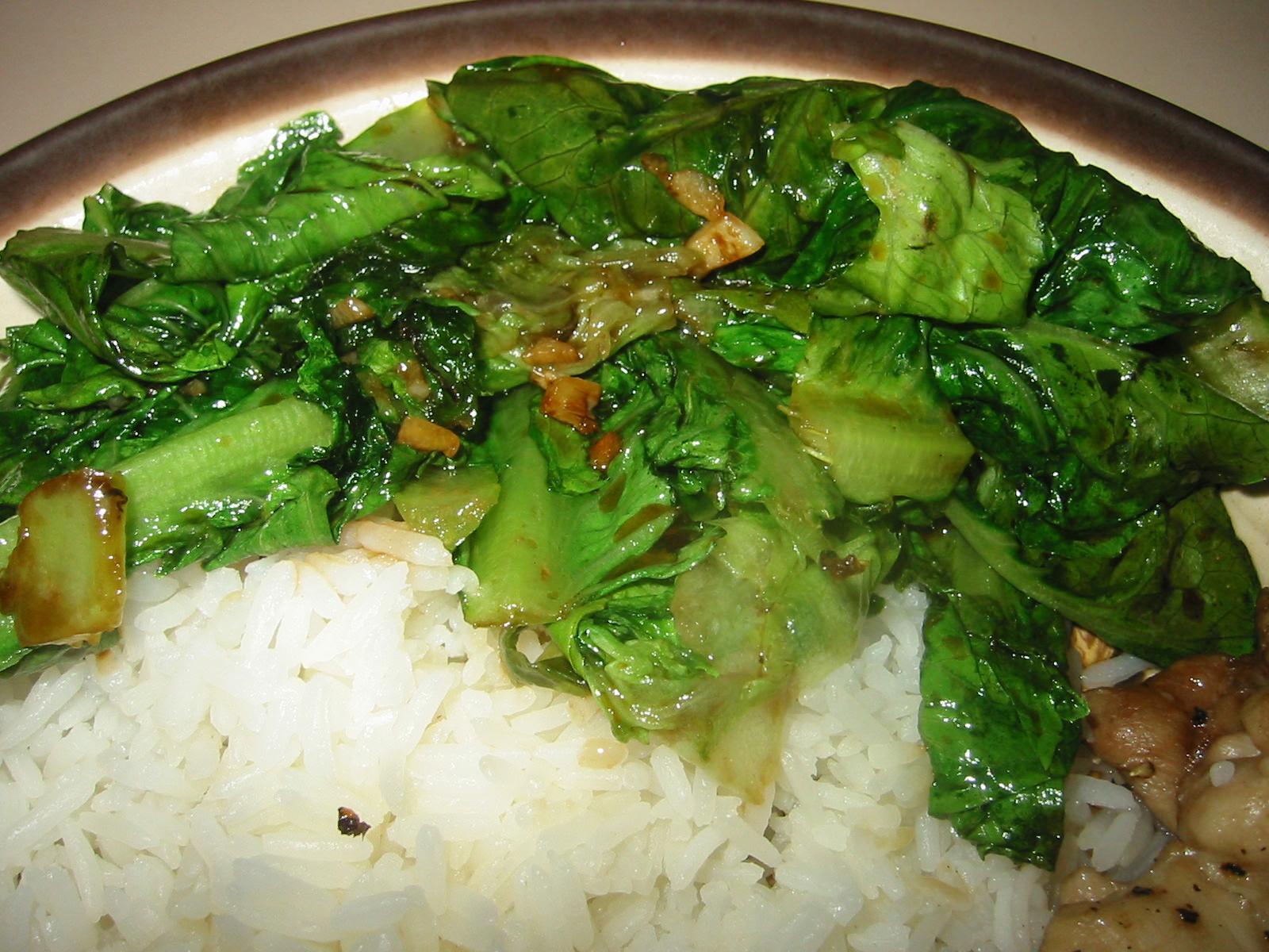 Stir-fried lettuce close-up