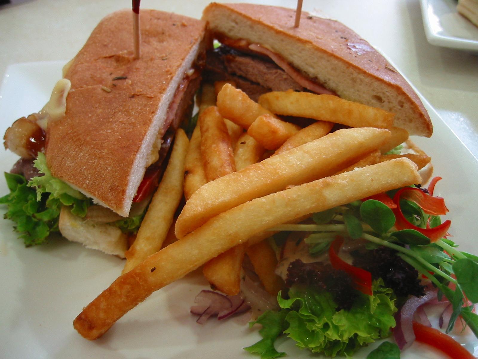 Steak sandwich and chips