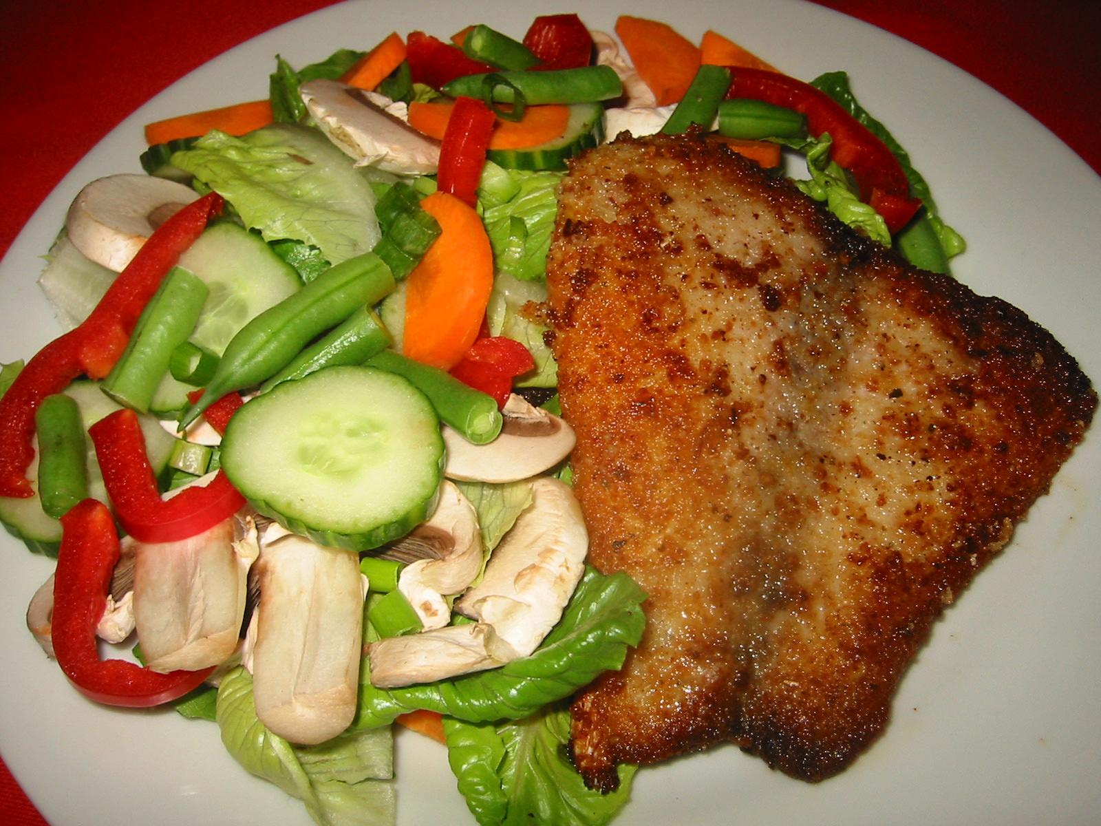 Saddletail snapper  and salad