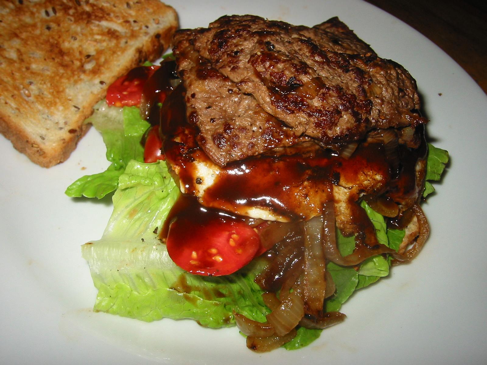 Steak sandwich , lid open