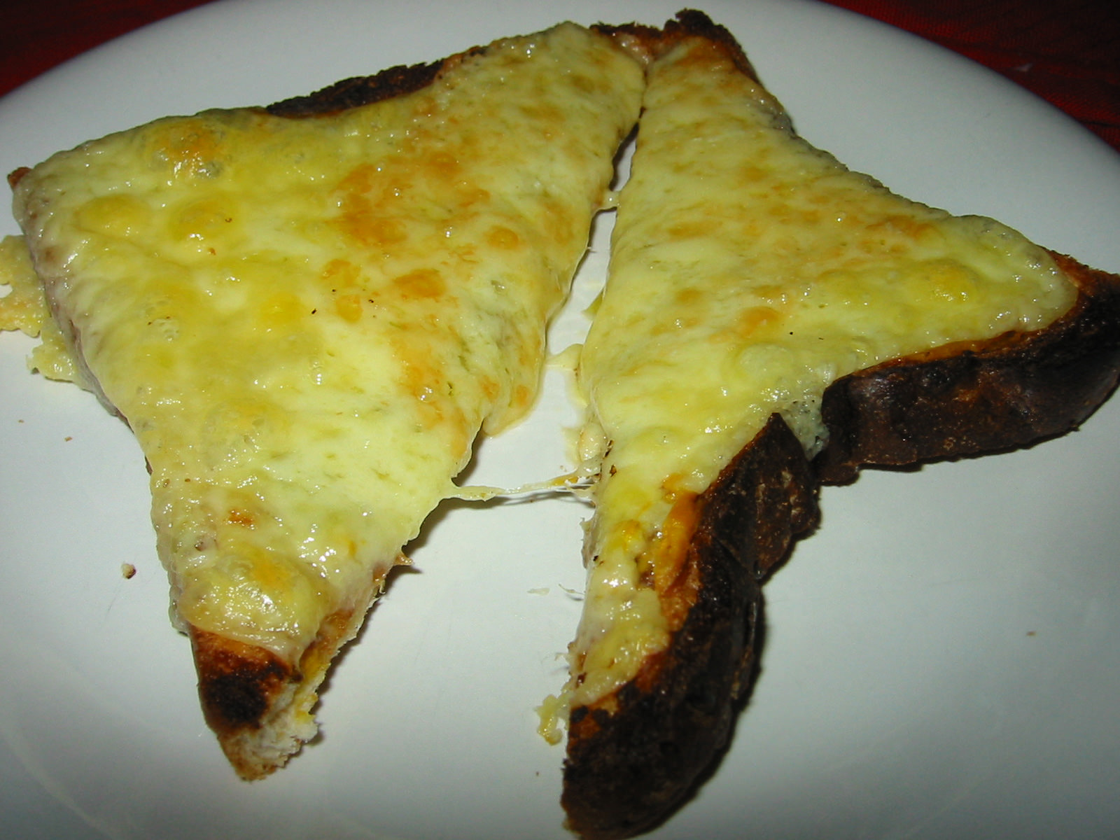 Cheese and mustard on toast