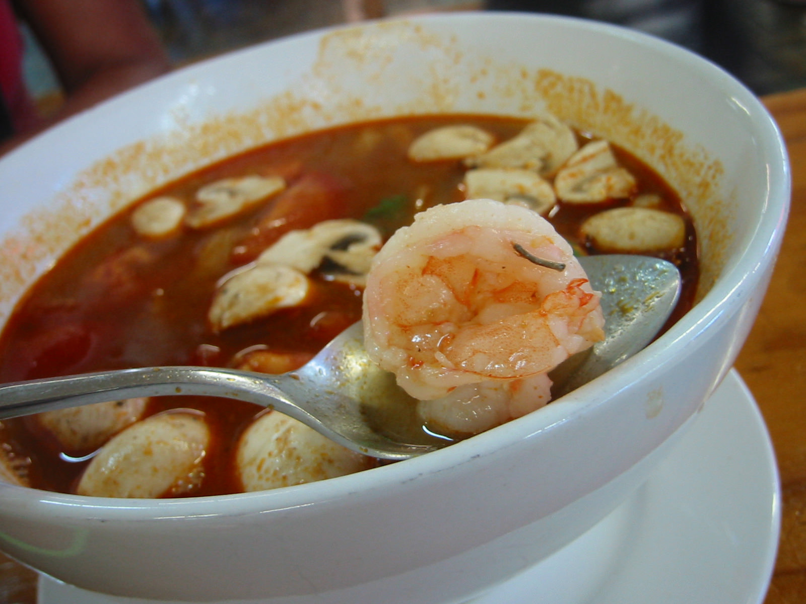 Prawn from tom yum soup
