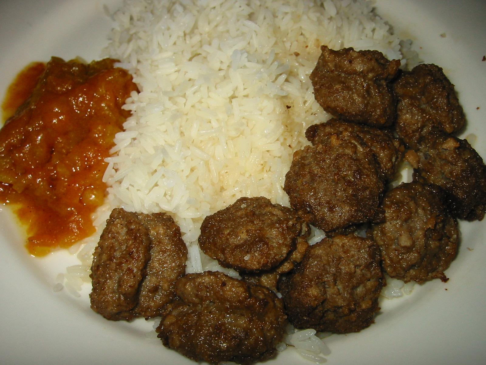 IKEA Swedish meatballs, tomato relish and rice