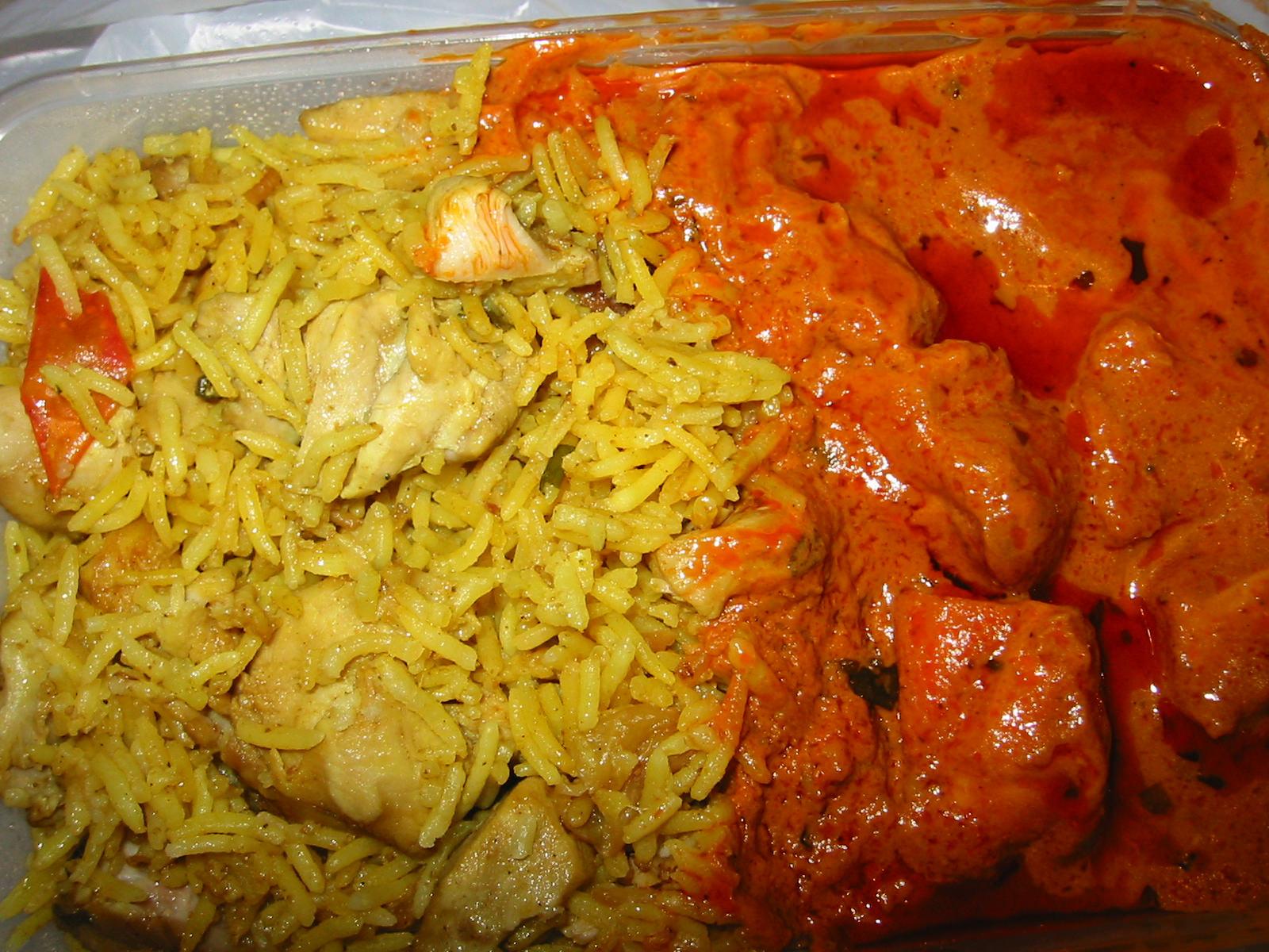 Chicken biryani and butter chicken