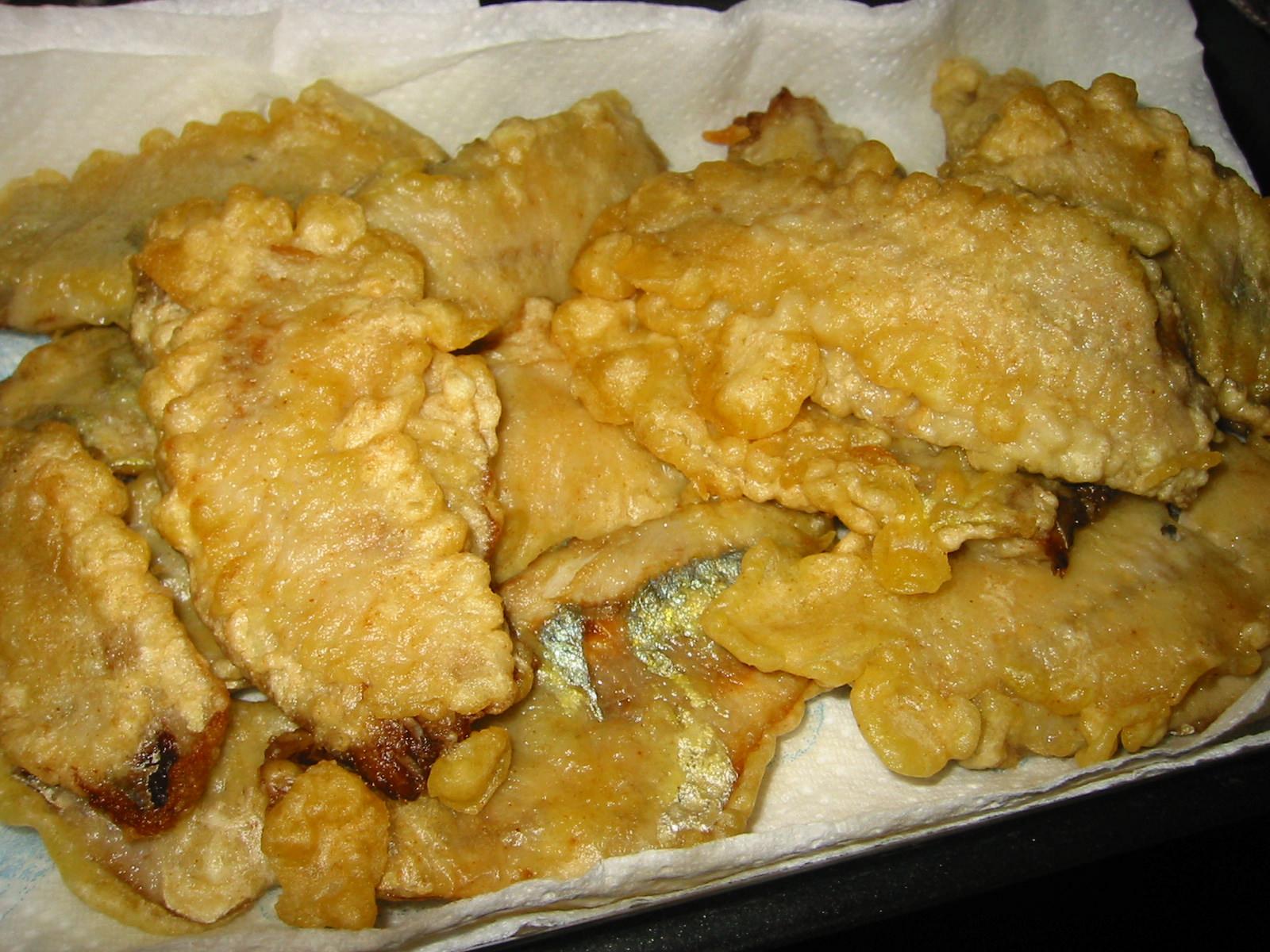Battered herring fillets