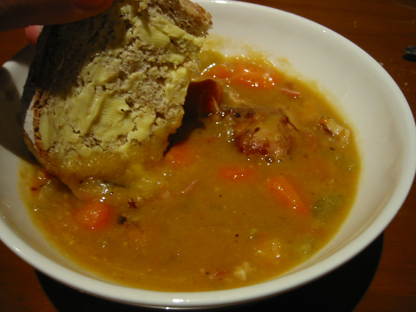 Pea and ham soup, bread dunking