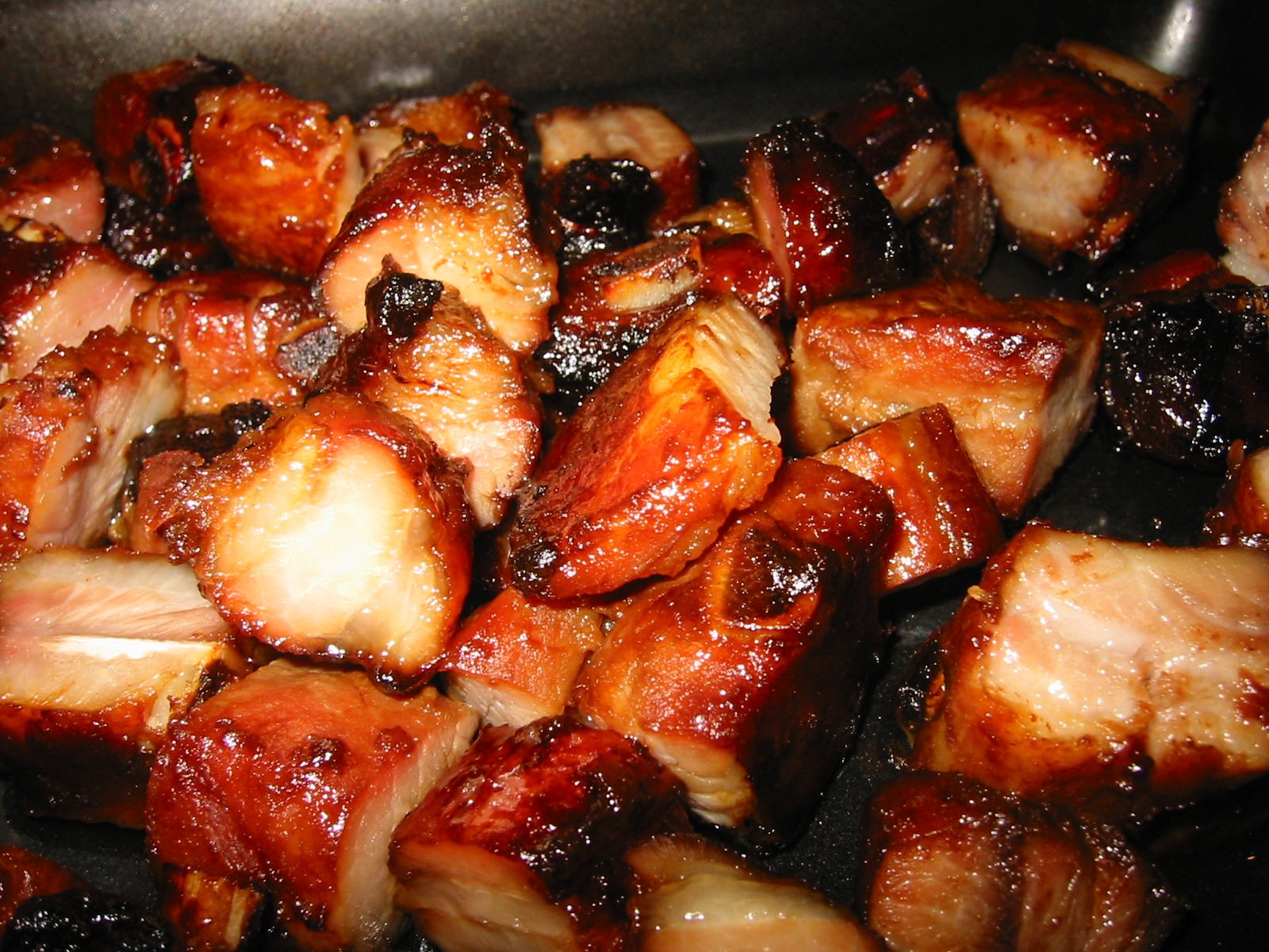 Close up of homemade char siu (Chinese BBQ pork)